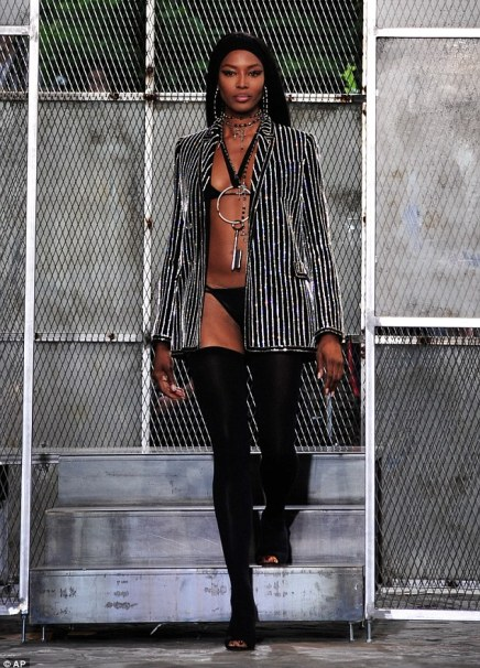 Body beautiful: The international supermodel looked lithe in just her smalls and thigh high boots