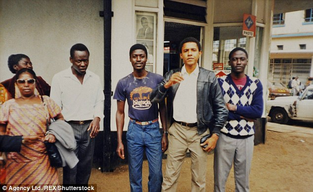 Family: Here, a young Obama is seen with (left to right) his Aunt Jane, cousin, brother Abo, and brother Ben