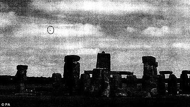 Stonehenge appears to be a favourite site for strange sightings by UFO hunters. One of the moment famous sightings (pictured) came out in recently declassified government documents described as 'Britain's X-Files'.