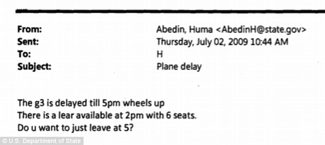 JUST LIKE US! Clinton and her deputy chief of staff Huma Abedin discussed weighty matters of state like which private jet to reserve for a trip