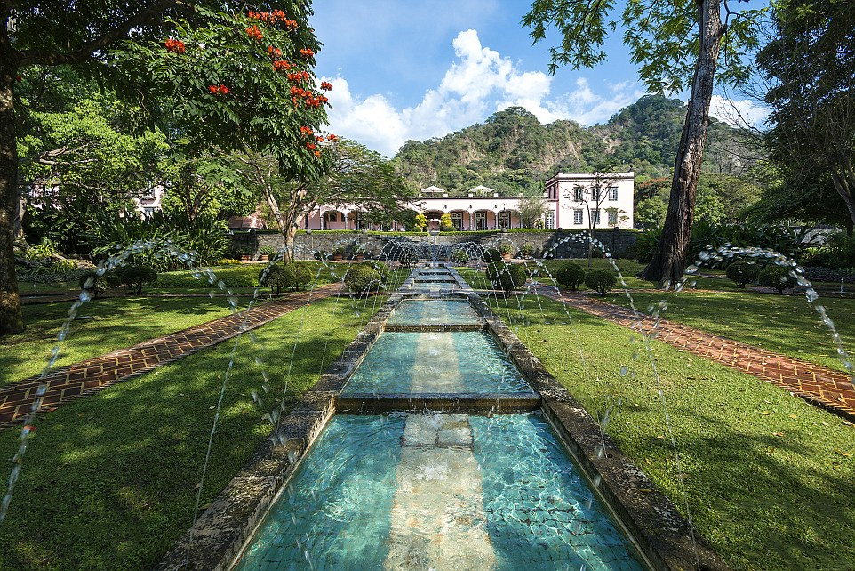 Sparkling fountains and beautiful gardens fill the courtyards of Hacienda de San Antonio, an elegant 19th-century home with a working ranch and coffee plantation set dramatically among volcanic peaks in the Mexican highlands
