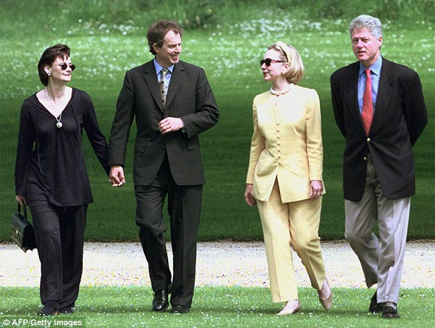 How many want to be president? The emails revealed that Tony Blair (second from left with his wife Cherie in 1998) felt his bid to be president of the European Council was floundering. Sidney Blumenthal urged Hillary to support her and former President Clinton's old friend in his campaign, which ultimately failed