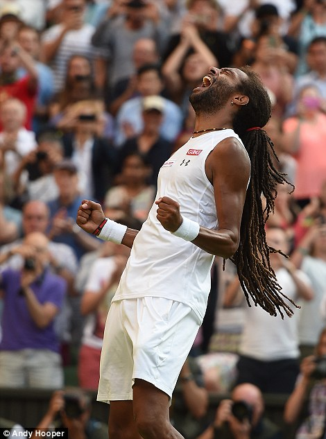 Dustin Brown celebrates his victory