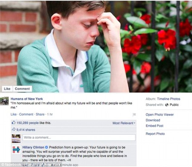 Hillary Clinton posted a comment below a picture of this gay teenager on the Humans of New York Facebook page who admitted he feared for his future