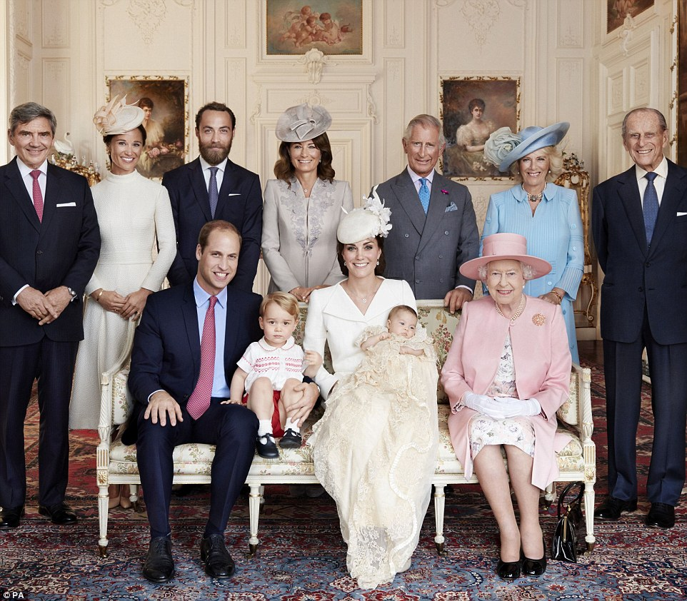 The first official pictures of baby Charlotte's christening - taken by Diana's favourite photographer Mario Testino - have been released. Back row (L-R) Michael Middleton, Pippa Middleton, James Middleton, Carole Middleton, Prince Charles, the Duchess of Cornwall, the Duke of Edinburgh. Front row (L-R) Prince William, Prince George, the Duchess of Cambridge with Princess Charlotte and the Queen