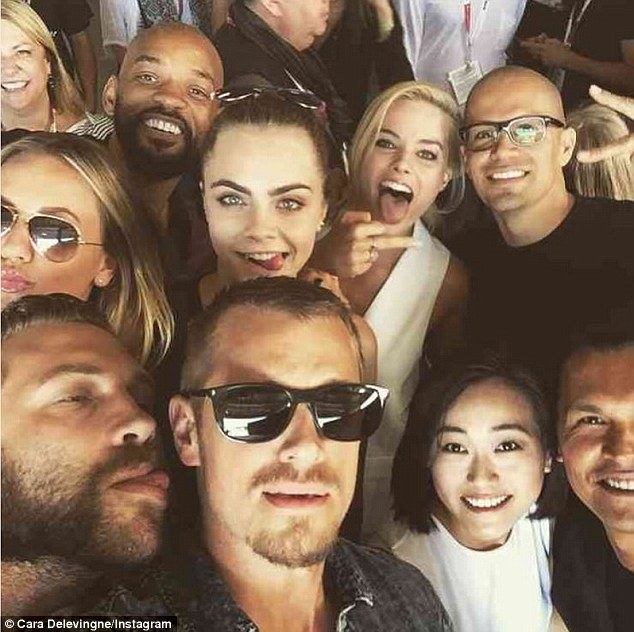 She posted this cast and crew shot to Instagram, writing: 'SQUAD GOALS COMPLETE #comiccon #SDCC15 #suicidesquad #orgy'
