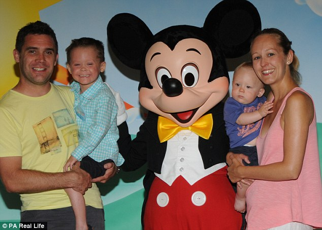 Now, the Bishop family, pictured in Disney World, are fundraising to take Morgan to a hydrotherapy clinic in France for treatment