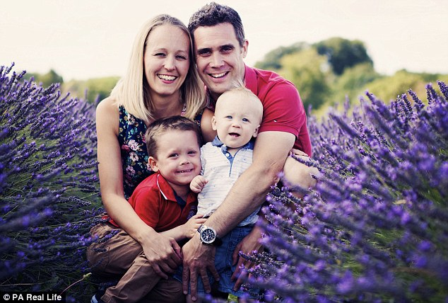 Mrs Bishop has had to give up work to care for her son. She is pictured with her husband Paul, and their sons Morgan and Jenson