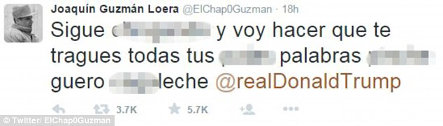 Guzman sends a tweet directly to Donald Trump telling him he will eat this words, following his escape from prison