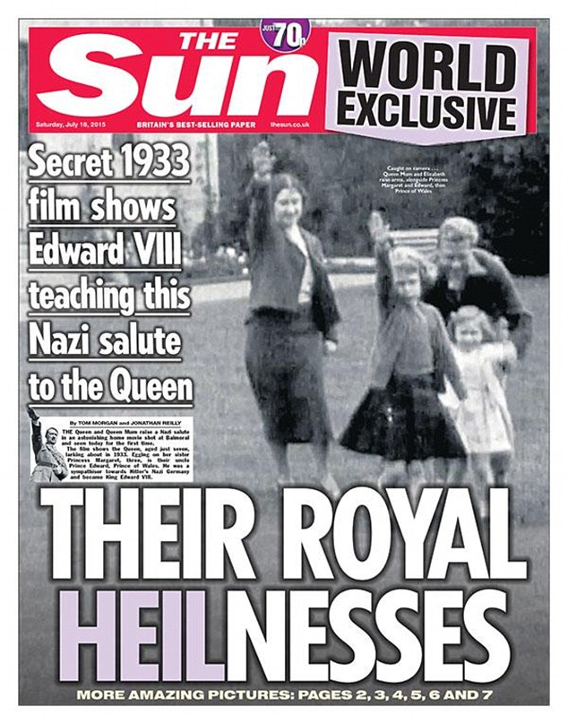 Nazi salute: A grainy photograph has emerged of the Queen performing a Nazi salute with her family in the gardens at Balmoral