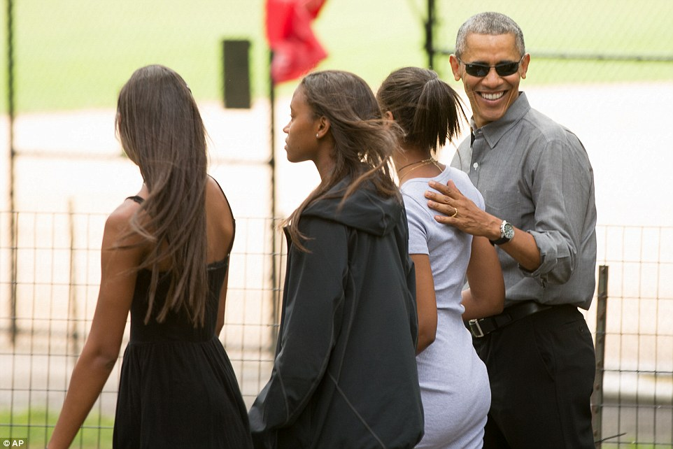 Obama seemed delighted, having spoken about his daughters growing up and hanging out with him less