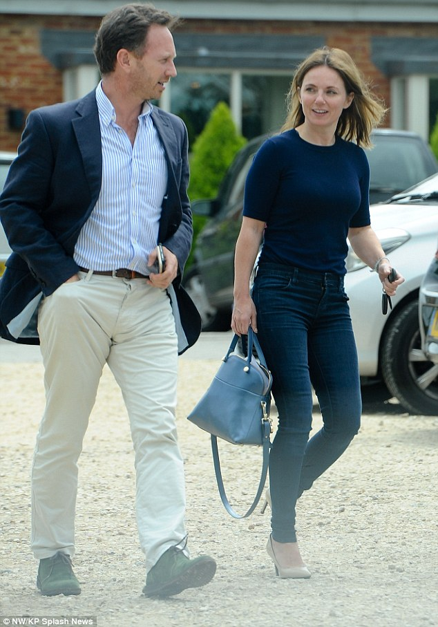 Happy couple: Geri Halliwell was happy to spend the day away from the recording studio as she picked up her husband, Christian Horner, for a lunch date last week