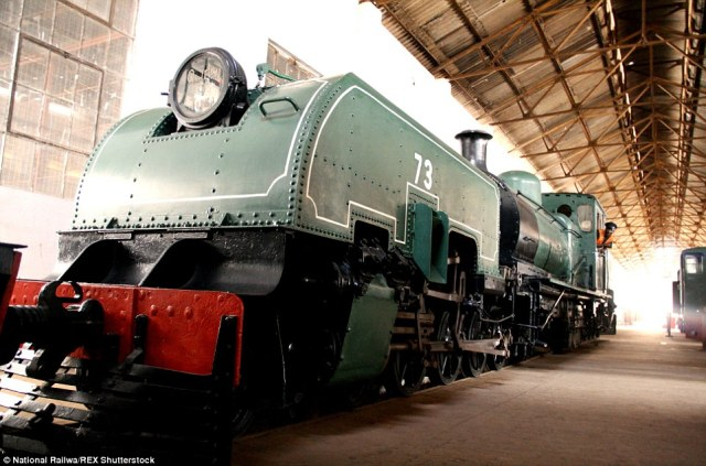 Restoration project: The same Garratt train, pictured as it looks today, has been restored by museum workers in Sierra Leone