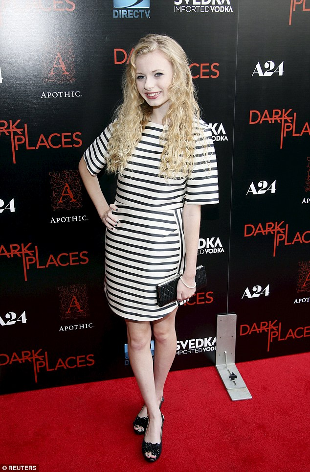 Monochrome: Addy Miller wore a stripy dress to the event