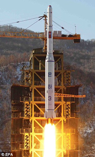 North Korea's Unha-3 rocket being fired from the Sohae Satellite Launching Station in Cholsan, North Pyongan Province, North Korea, in December 2012