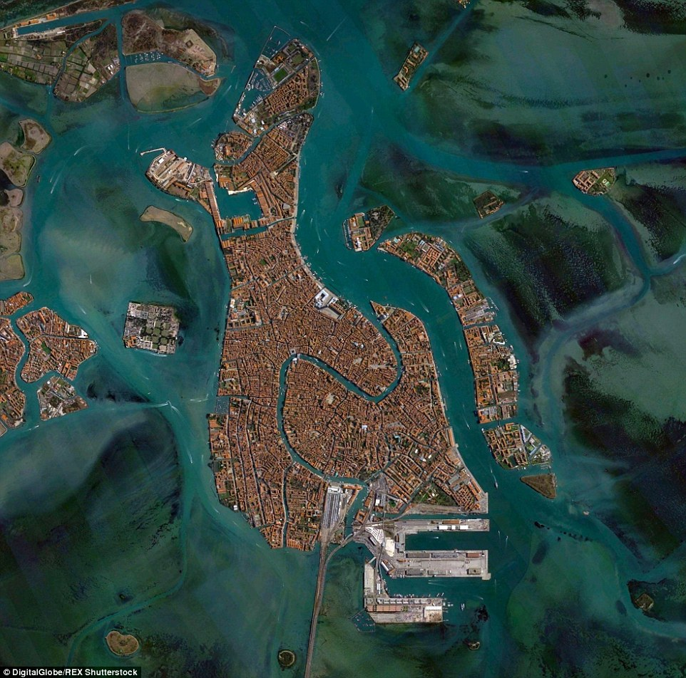 Venice, Italy is fascinating to observe from above, with its canals, bridges and 78 giant steel gates across the three inlets
