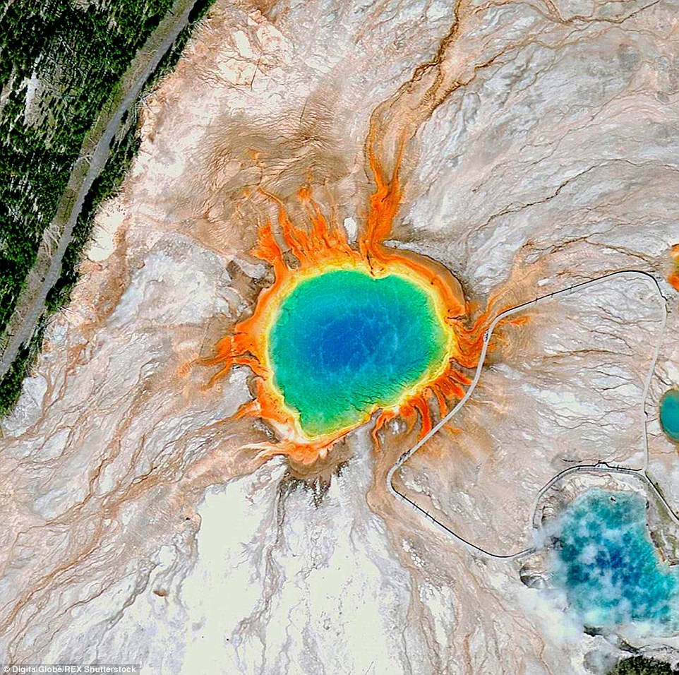 The Grand Prismatic Spring in Yellowstone National Park gets is vivid colour from pigmented bacteria that grow along its edges