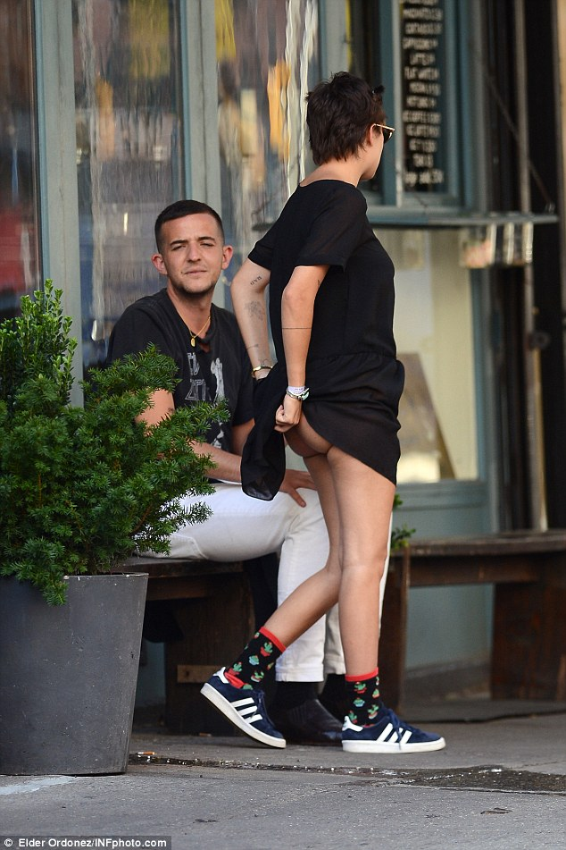Very cheeky: Tallulah Willis busy acting the fool on Wednesday as she spent the day with her sister Scout and friends in New York