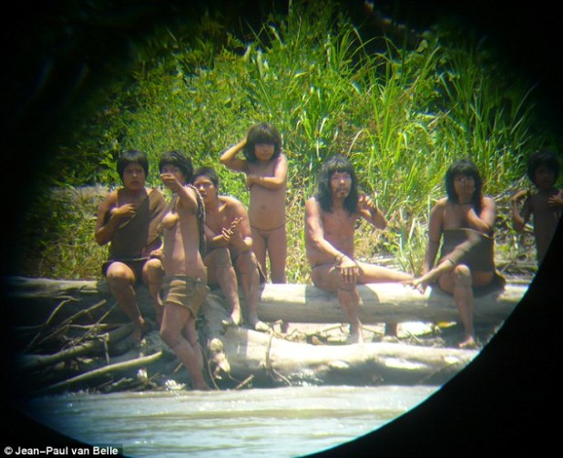 Spotted: They were seen by Jean-Paul van Belle, a professor at the University of Cape Town, in 2011 who said he spent two hours on a boat as the Mashco Piro tribe stared at him from the riverbank