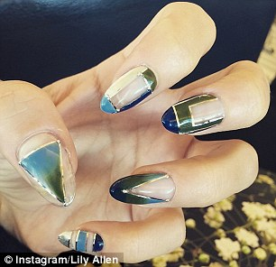 Claws out: Vanessa Hudgens, left, channels her style through her nail art, while Lily Allen, right, favoured a more abstract design