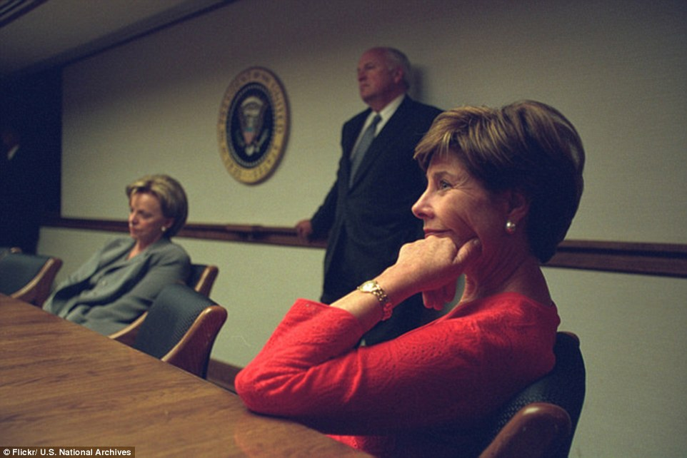Never-before-seen: The striking pictures of Cheney and other officials' reactions to 9/11 were captured by Cheny's staff photographer