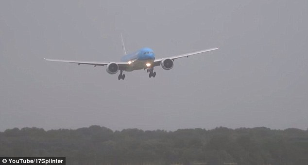 The Boeing 777 rocked from side to side as it was battered by high winds on approach to Schiphol airport