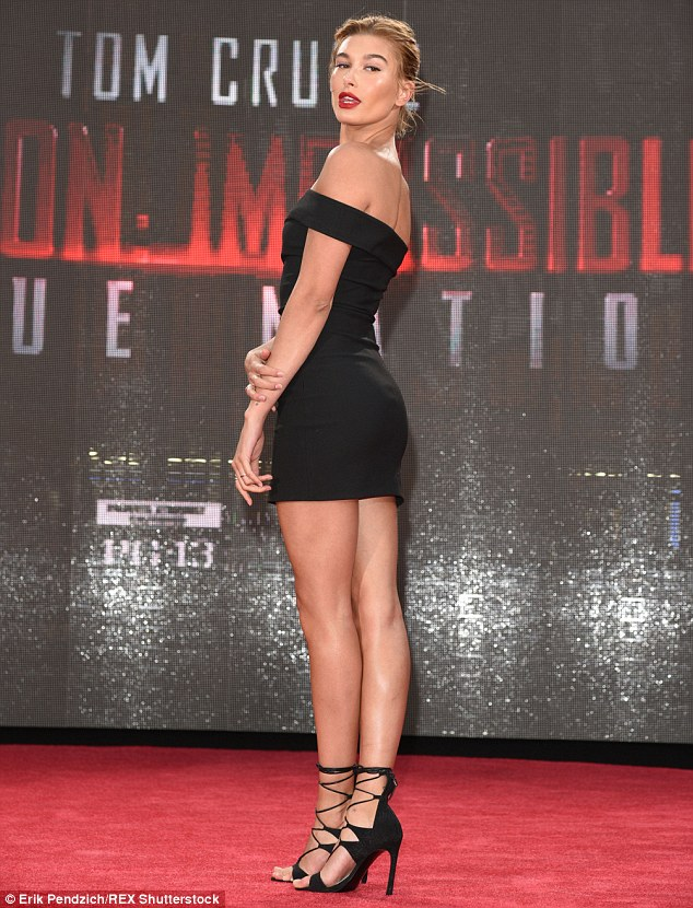 Haute stuff: The blonde beauty - who has been romantically linked to Justin Bieber - also took the opportunity to show off her long legs in a short black dress
