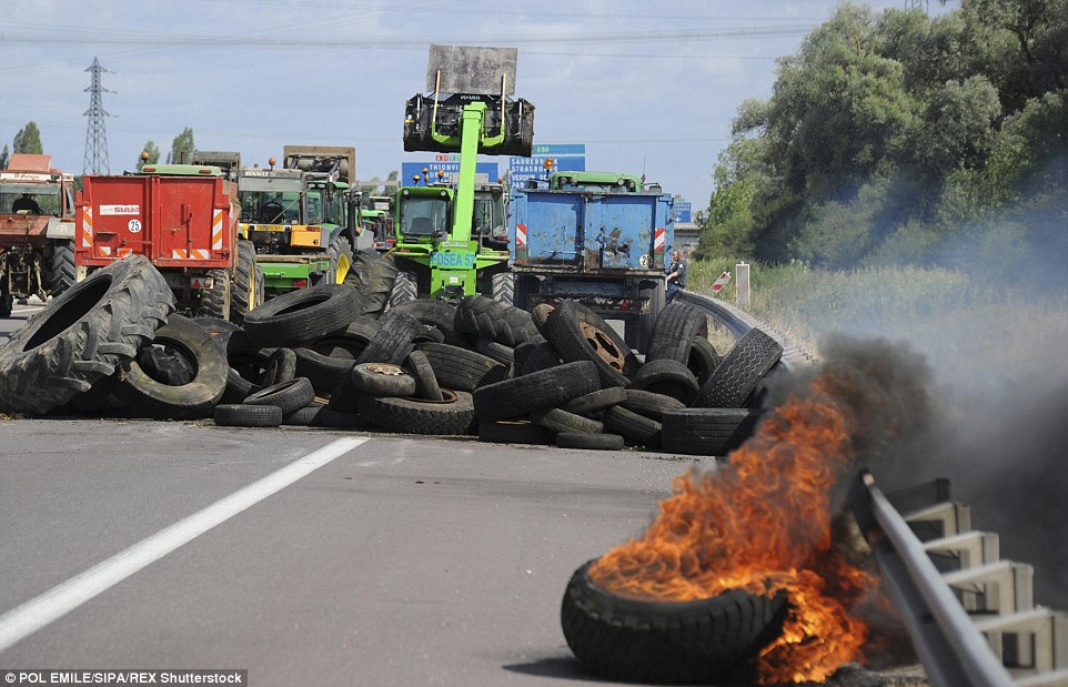 Flaming: Farmers used piles of flaming tyres and convoys of tractors to block the main highways in the eastern Moselle region