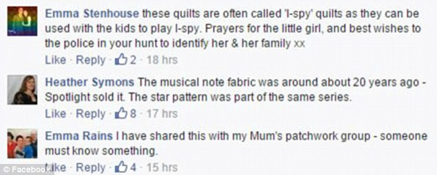 Quilters took to the SA Police Facebook page to write about the 'musical note' fabric and to say they had passed on the mystery information to their mother's quilting group in the hope of helping to crack the case