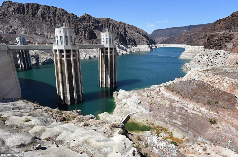 In 2014: This recent shot of Lake Mead shows a much more shallow reservoir than usual. Water used to be feet from the top of this structure