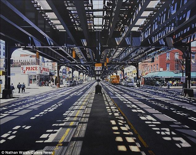 Um artista britânico trouxe à vida algumas das cidades mais vibrantes do mundo - com pinturas incrivelmente detalhadas capazes de fazer até mesmo os moradores double-take.  Esta imagem é de Pequena Rússia, New York