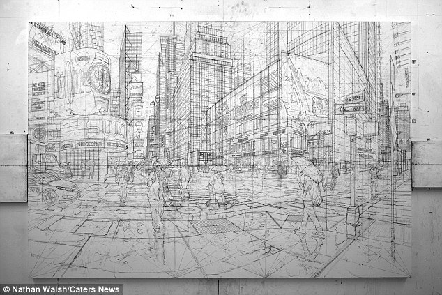 Este esboço de Nova York mostra como Nathan acumula-se as pinturas