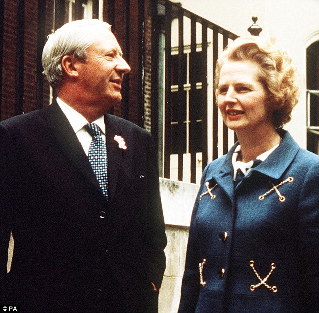 Rivals: Ted Heath and Margaret Thatcher, pictured together in 1970, had battled for the leadership of the Tory party, which Heath eventually lost in 1975 - leading to a lifelong feud with the Iron Lady