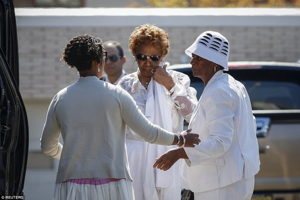 Emotional: Cissy Houston wipes away tears as she attends the funeral service for her granddaughter Bobbi Kristina in New Jersey on Monday