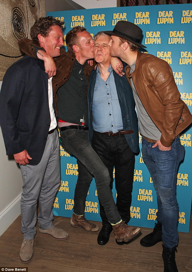 Time to relax! Robin Fox, Laurence Fox, James Fox and Jack Fox attend an after party following the press night performance of Dear Lupin