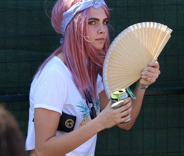 Ubiquitous Model Model Cara Delevingne Who Was Spotted With Bubblegum Pink Hair While Watching Her