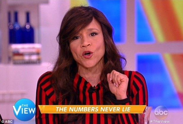 Rosie was aghast:  The awkward encounter came during a Hot Topics segment about Donald Trump's poll numbers with Latinos--co-host Rosie Perez read stats that found that 75 percent of Latinos do not like Trump