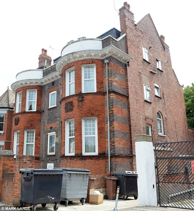 Home: 'Madam Ling Ling' lives in this north London flat - her solicitor today denied she had anything to do with Ted Heath