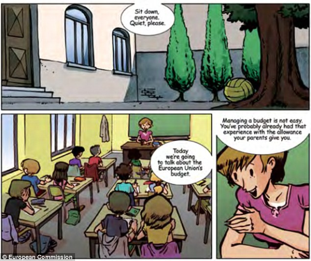 The cartoons are available for free for all British schools through the EU's embassy in London. A similar comic published five years ago to promote EU aid work was said to have cost £200,000