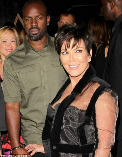 He approves! Justin Bieber shared this picture of Kris Jenner and his road manager Corey Gamble on Instagram alongside the caption, 'hottest couple in the game'