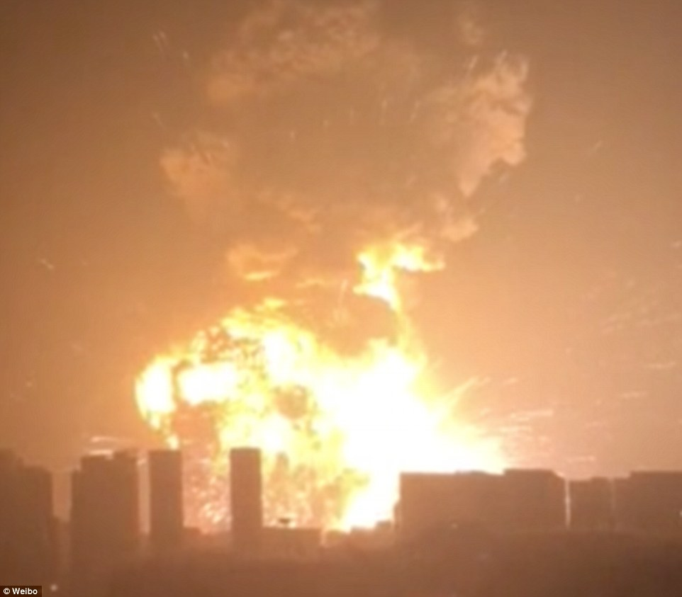 Fireball:The blast is believed to have erupted in a shipment of explosives at about 11.30pm local time, killing 44 people and injuring 500 others