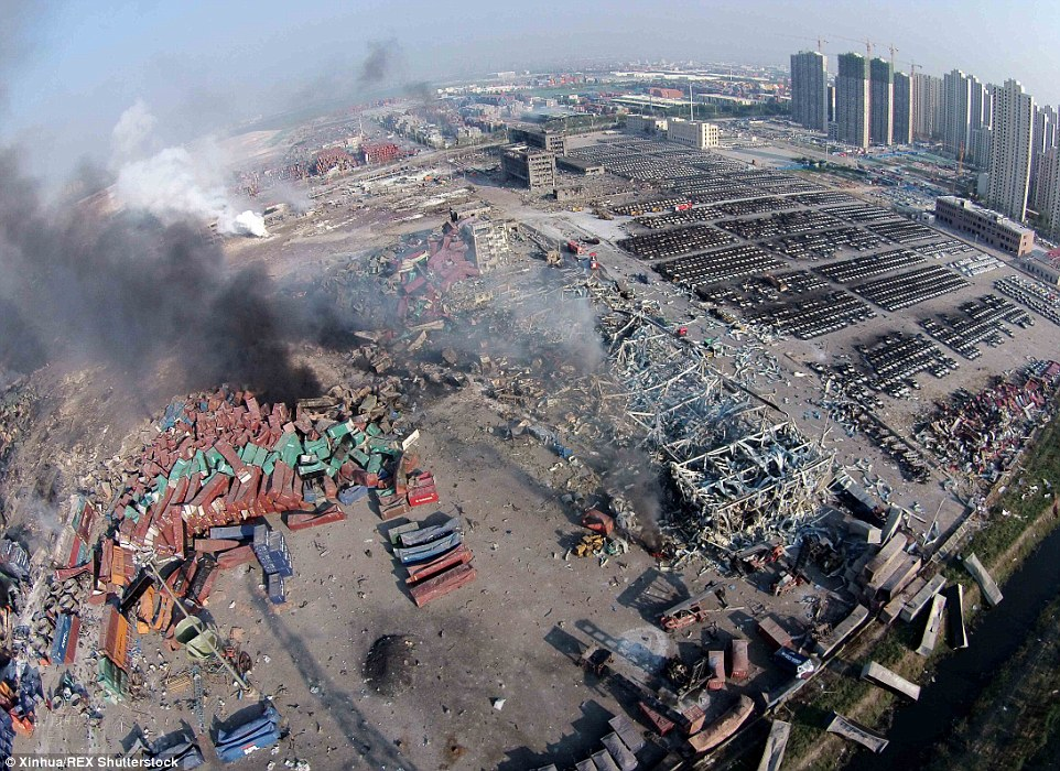 Wasteland: A view of the devastated landscape of the Chinese port city of Tianjin, where huge, fiery blasts at a warehouse for hazardous materials killed at least 50 people, raising questions about what potentially lethal chemicals may have been released into the air
