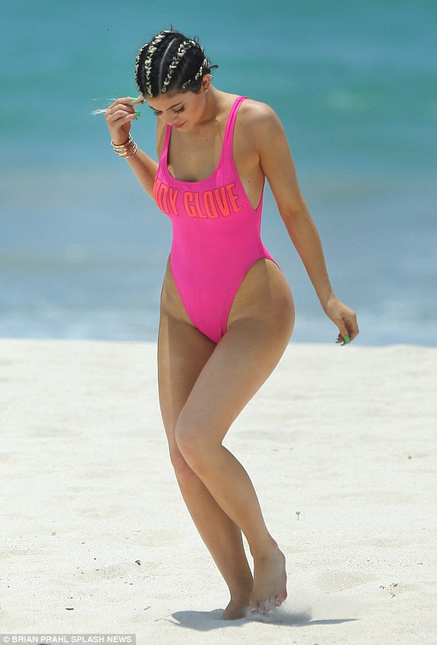 Throwback: She enjoyed something of a Baywatch moment with a throwback 1980s style swimsuit