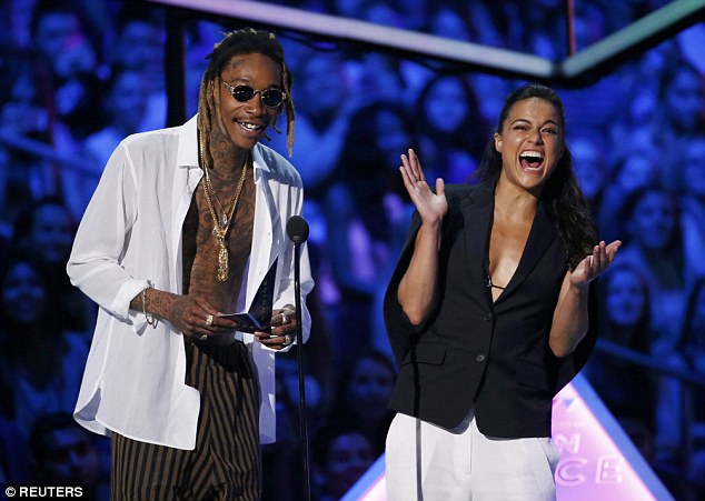 Good times: Wiz Khalifa and Michelle Rodriguez were in good spirits as they presented an award