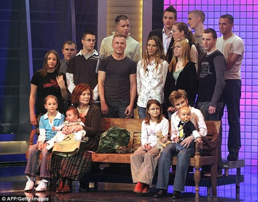 Big family: Annegret was already mother of 13 - with her eldest 44 and youngest child just 10 when she had IVF treatment in Ukraine