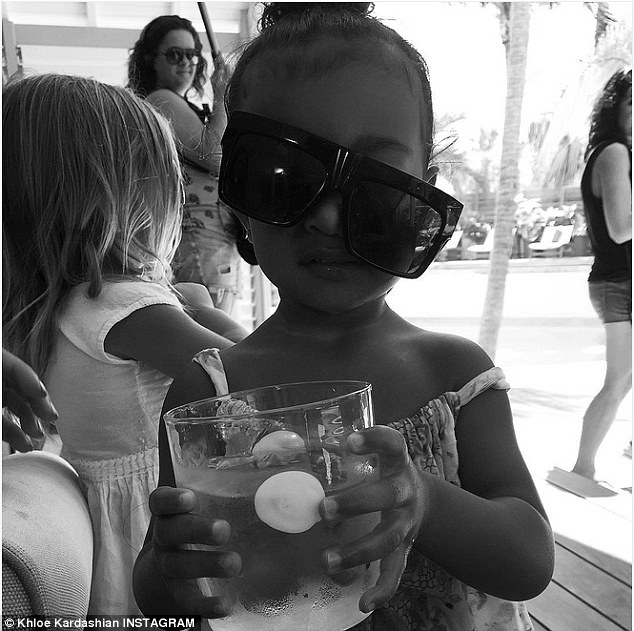 Silly snap: While not seen on the evening outing, aunt Khloe shared a snap of Kim's two-year-old daughter North captioning 'MOOD'