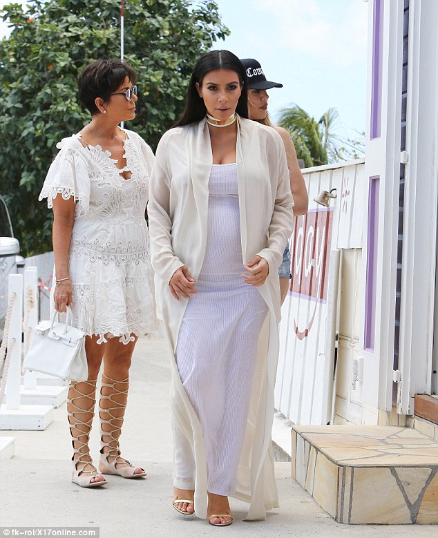Curious: A local shop caught the attention of Kris and her youngest daughter from her marriage to Rob Kardashian
