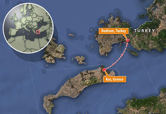 Perilous trip: Although only 13 miles from Bodrum, Turkey, to the Greek island Kos, it is still a dangerous trip