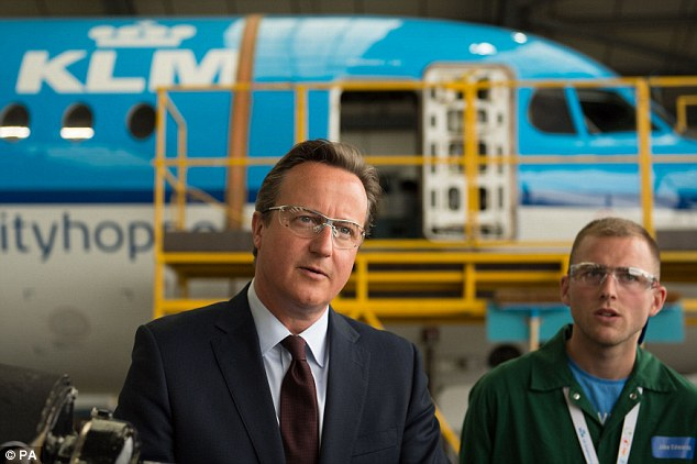 David Cameron - meeting apprentices employed by KLM Engineering at Norwich  Airport today - launched a