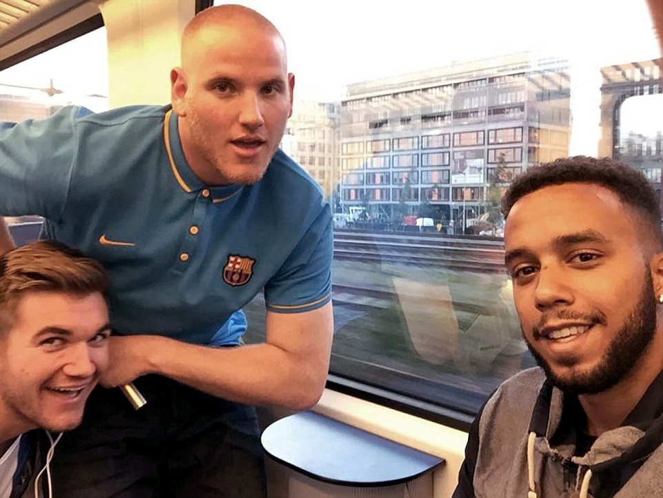 Heroes pictured from left to right: Alek Skarlatos, Spencer Stone and Anthony Sadler who disarmed the gunman on a train at Arras, France.The terrorist was  beaten unconscious by the US servicemen and a British man after he opened fire on a Paris-bound train